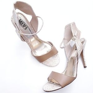 Mix No. 6 White & Nude Snake Embossed Heels
